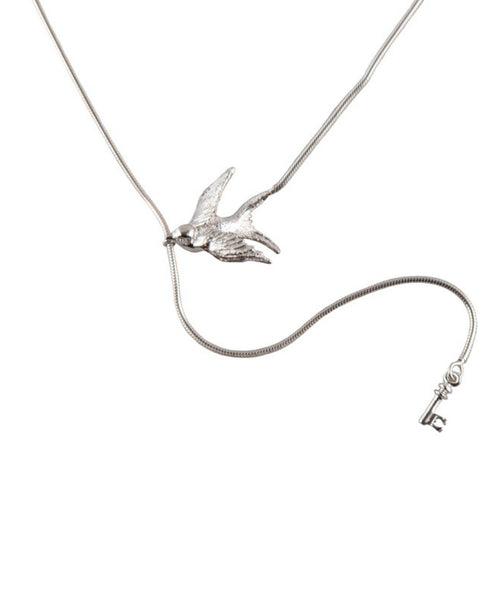 Silver Swallow & Key Necklace
