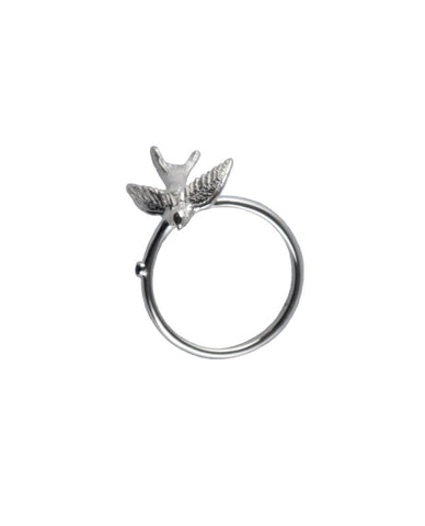 Silver Swallow + Black Spinel Ring
