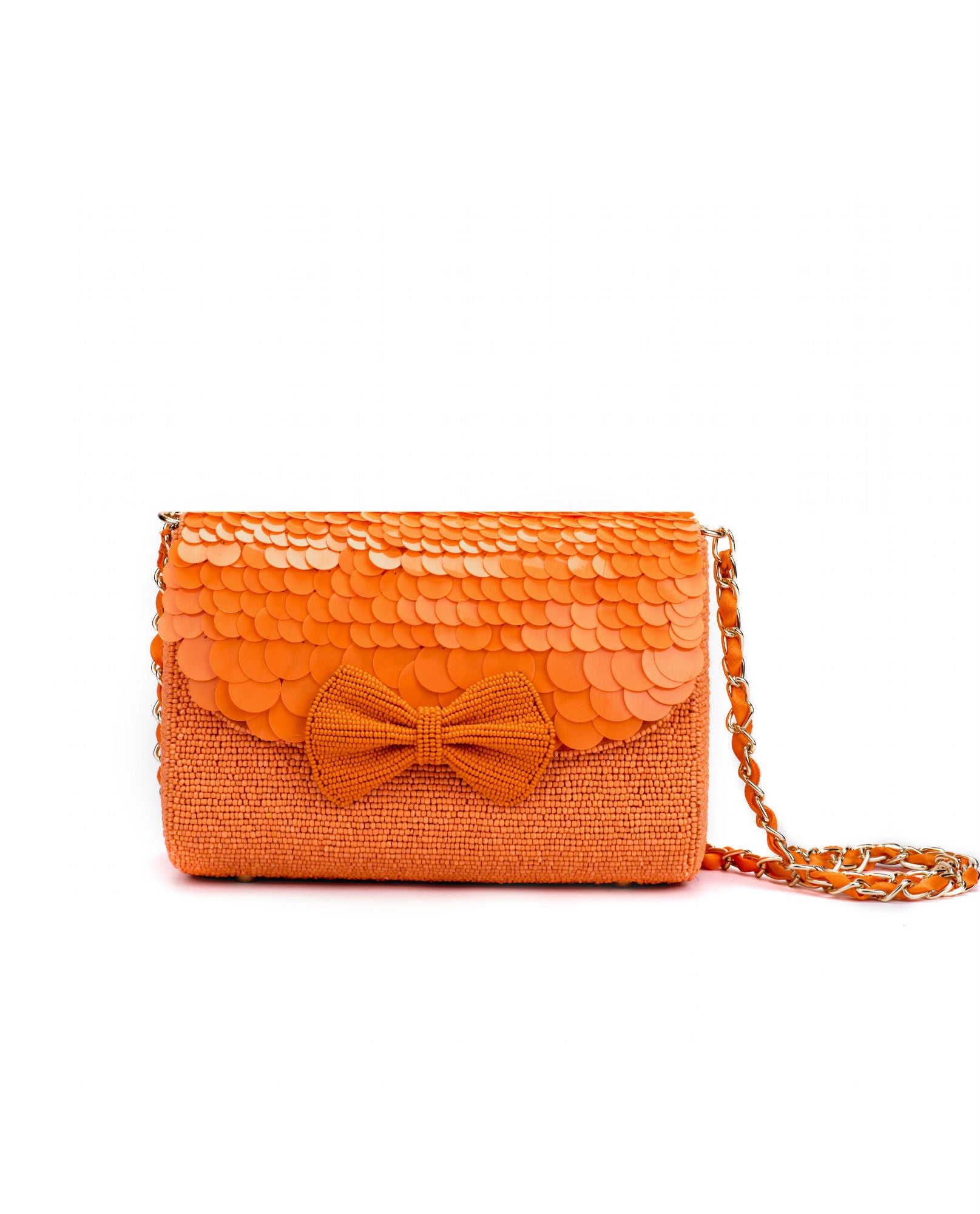 ruche & hues - Angel Glow Baguette Orange Hand Beaded Bag- The Velvet Closet - 1