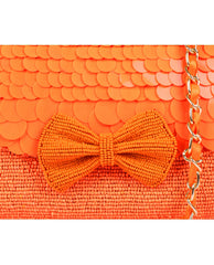 ruche & hues - Angel Glow Baguette  Orange Hand Beaded Bag- The Velvet Closet - 2