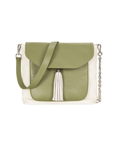 Poppy Off White & Olive Leather Handbag