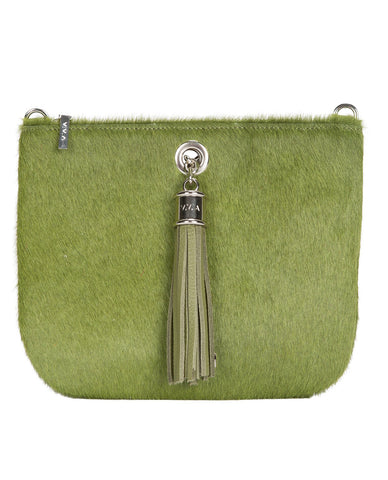 Ivy Grass Green Leather Pouch Handbag