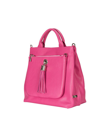 Dahlia Pink Leather Tote Handbag