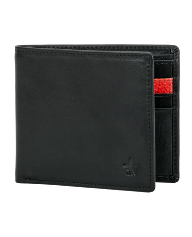 Black Calf Leather Wallet, Red Zander Card Slot