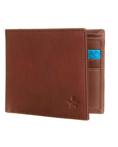Tan Calf Leather Wallet, Turquoise Zander Card Slot
