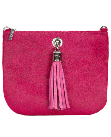 Ivy Fuchsia Pink Leather Pouch Handbag
