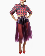 Sydney-Davies - Printed Tailored Crop Shirt - The Velvet Closet - 2