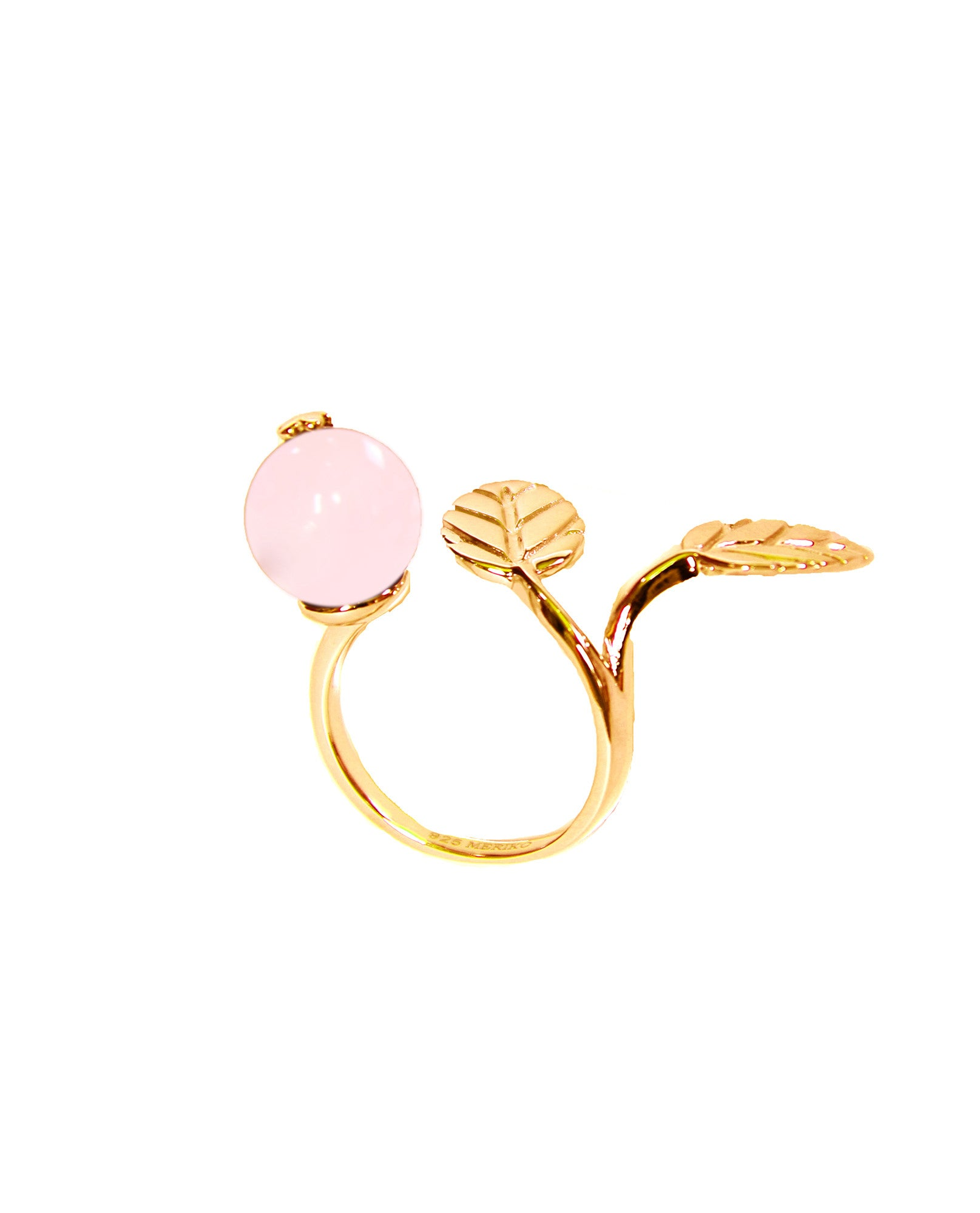 Meriko London - EXCLUSIVE-Rose Quartz & Gold 2 Finger Ring - The Velvet Closet - 1