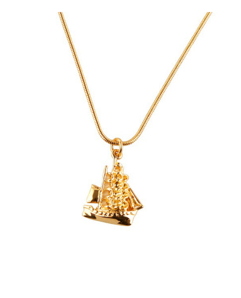 Gold Clipper Ship Necklace