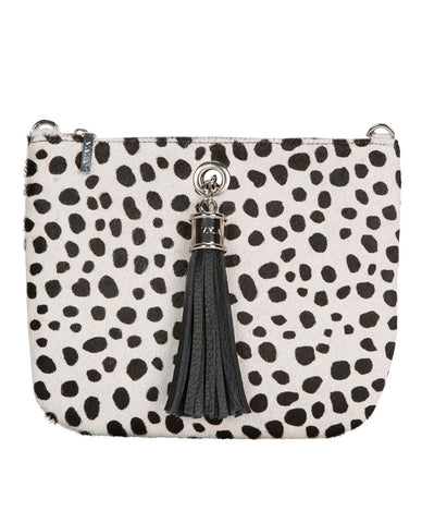 Ivy Black/White Spot Leather Pouch Handbag