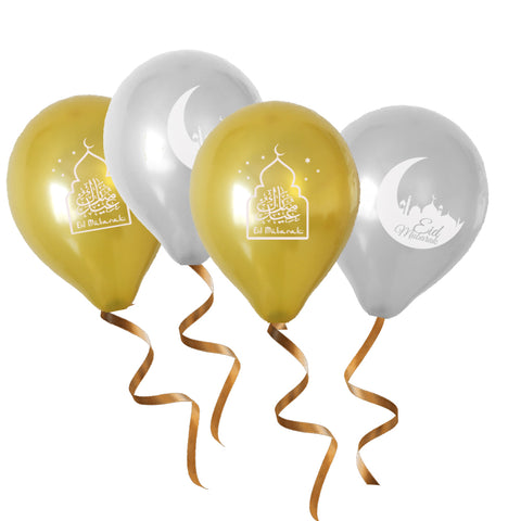 Eid Balloons - Gold & Silver