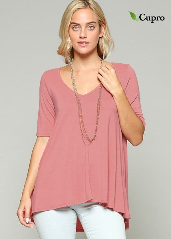 Women's Solid Rose Top with cut out V-Back.