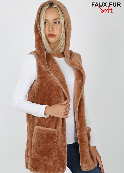 Women's Vest-Brown faux fur hooded vest with open front and pockets