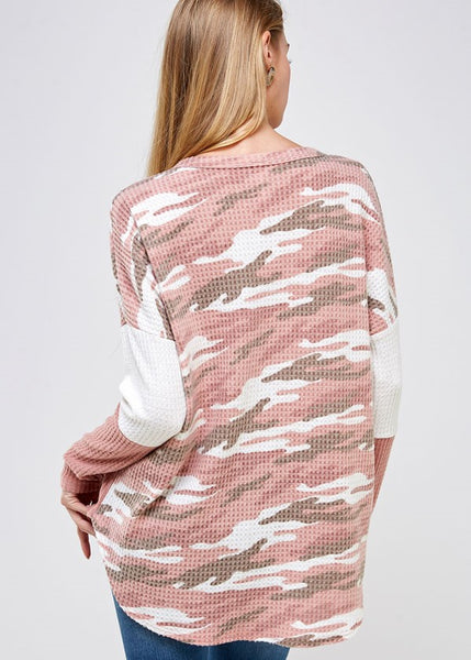 Thermal pink and white color block and camo women't top.
