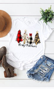 Women's Graphic Tee: white short sleeve tee with 4 trees and Merry Christmas