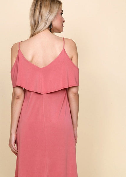 Women's solid rose spaghetti strap dress featuring a ruffle top.