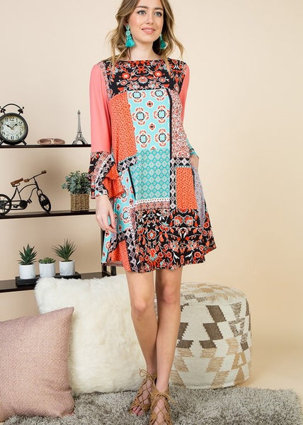 Multi Patchwork Tier Bell Sleeve Swing Women's Dress with Side Pockets