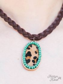 Wild Touch Leopard and Turquoise Necklace