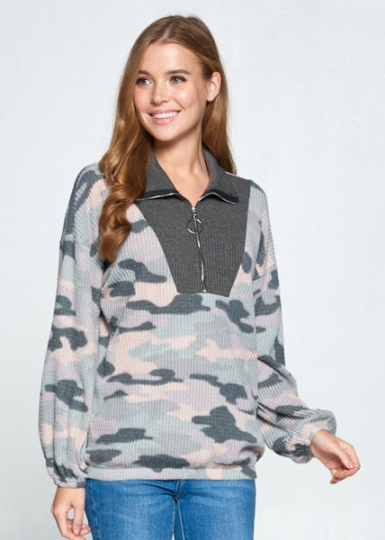 Women's Top: Grey and Pink waffle camo print top
