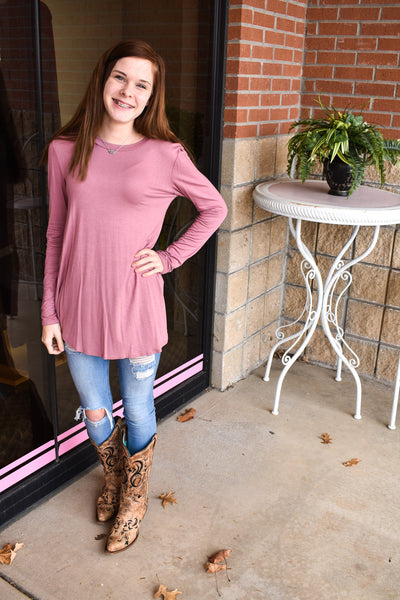 Women's Tops- Long Sleeve Round Neck Tunic Top