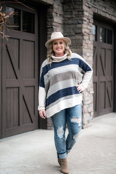 Artic Chill Sweater In Navy Stripes