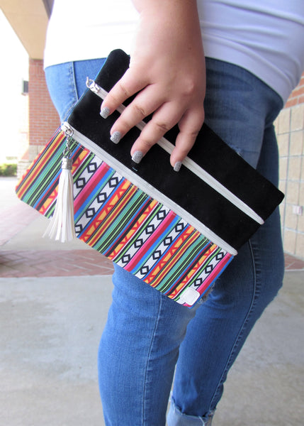 Versi Bag Zipper Pouch- Multicolor Serape Print Versatile Pouch/Bag