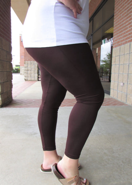 Plus Size Leggings- Solid Brown Leggings
