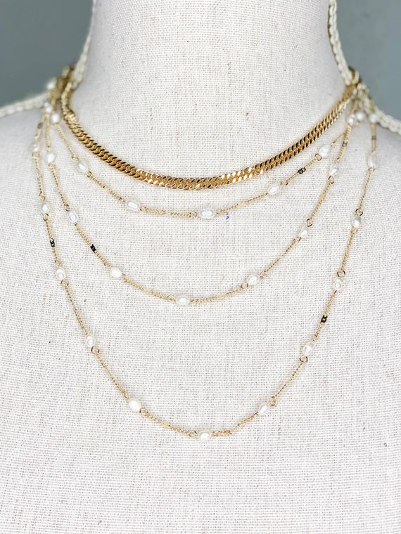 Gold and Pearl Multi Strand Necklace