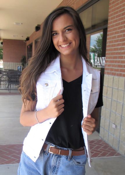 Women's Vests- White Distressed Sleeveless Denim Vest