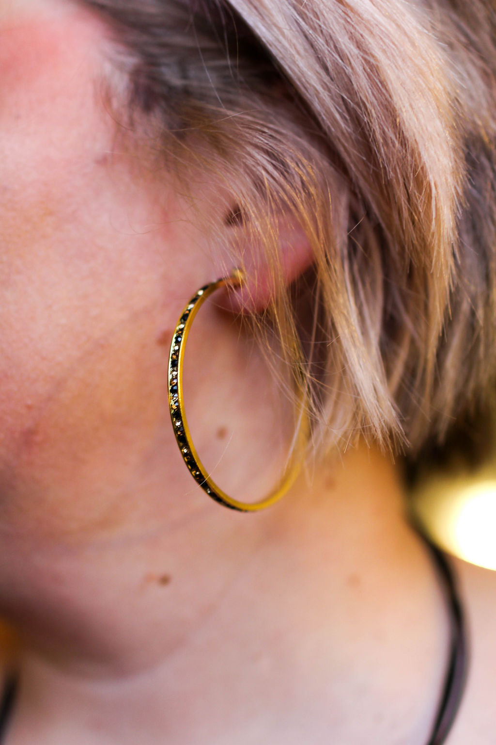 Black and Gold Channel Set Gold Hoop Earrings