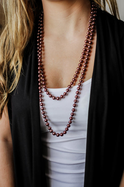 Necklaces- Long Strand Faux Pearl Necklace