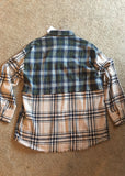 Navy, Cream & Olive colorblock women's flannel shirt