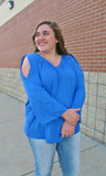 Plus Size Clothing- Plus Size Royal Blue Cold Shoulder Top