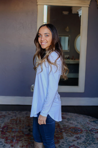 Long Sleeve Top- Long Sleeve Basic V Neck Top