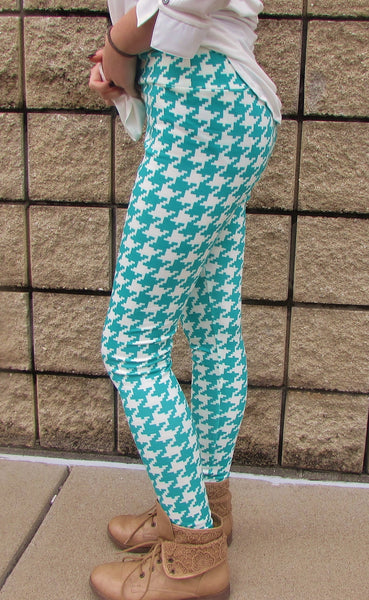 Women's Leggings- Mint Herringbone Legging