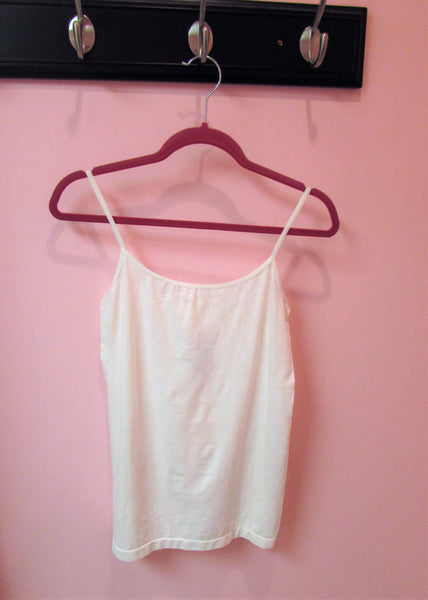 Women's Plus Size Tops- White Spaghetti Strap Tank Top