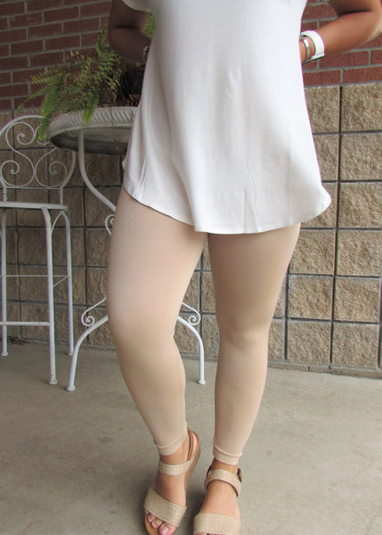 Leggings- Solid Tan Capri Leggings