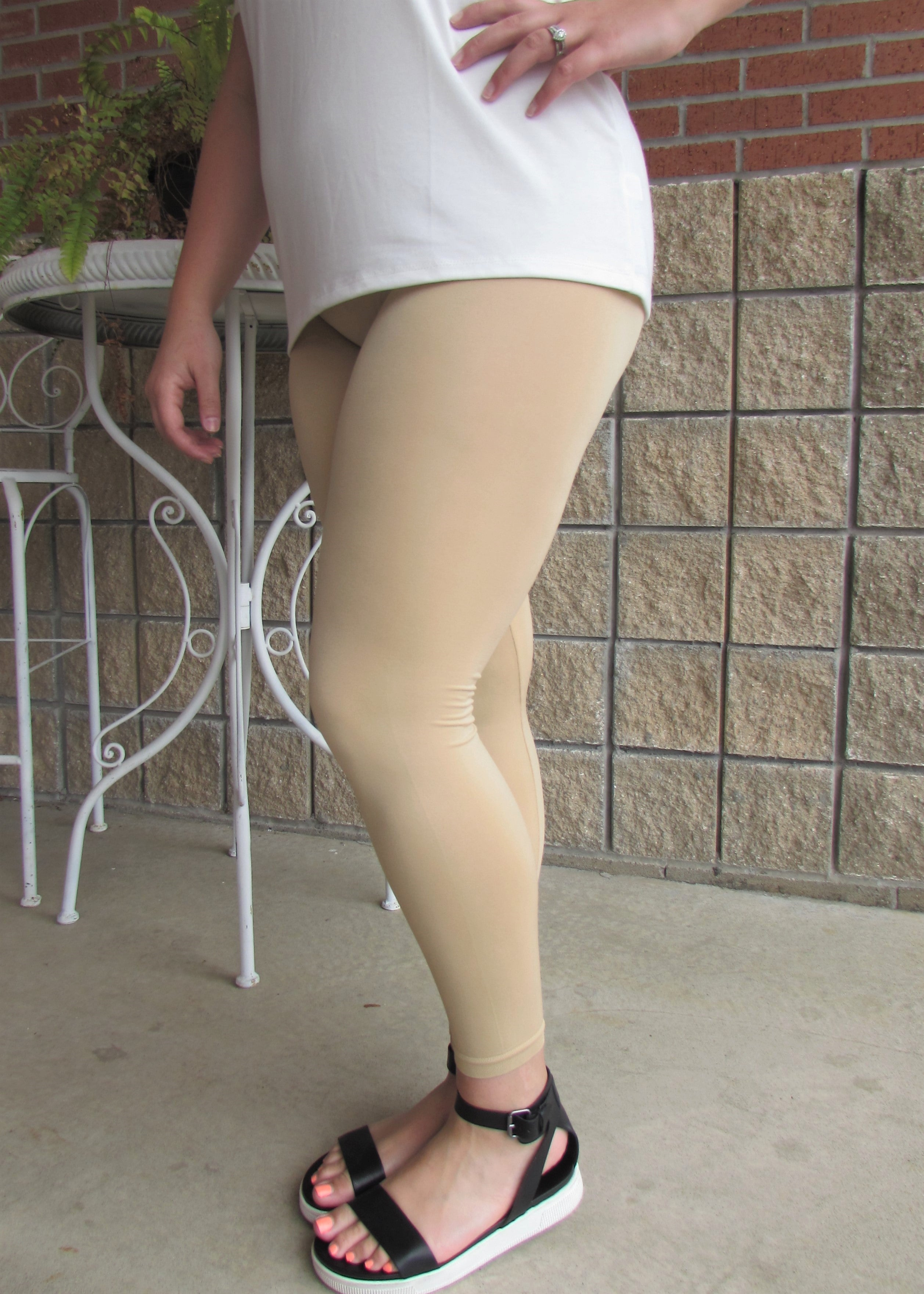 Plus Size Leggings- Solid Tan Leggings