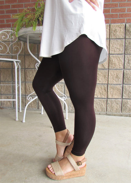 Leggings- Solid Brown Capri Leggings