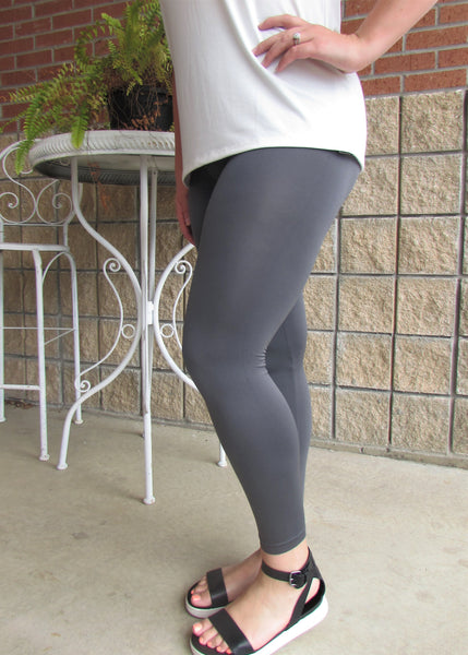 Plus Size Leggings- Solid Grey Leggings