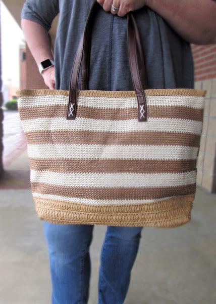 Purses- Striped Straw Beach Tote