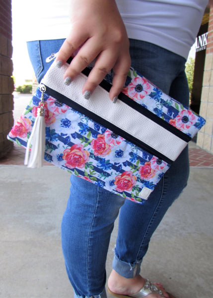 Versi Bag Zipper Pouch- Blue and Red Floral Print Versatile Pouch/Bag
