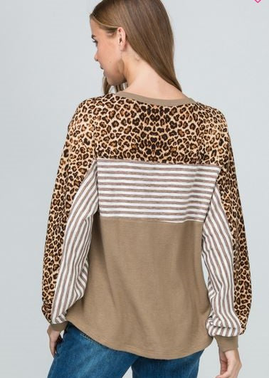Solid Taupe, Striped and leopard print color block top