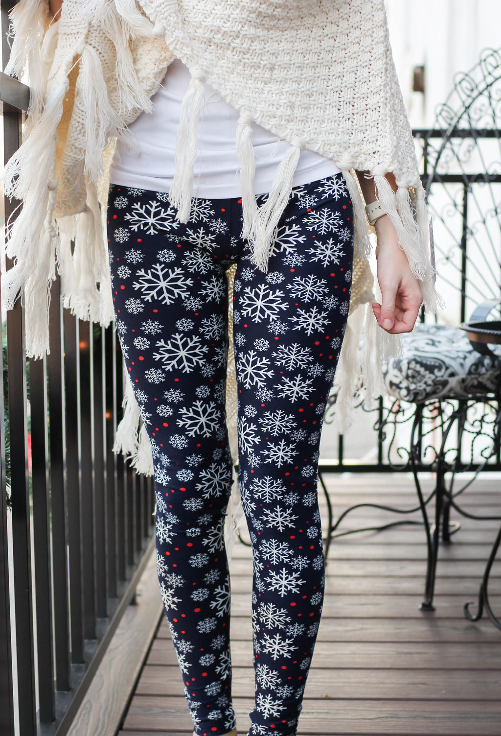 Let It Snow Navy/Snowflake Leggings-Generous