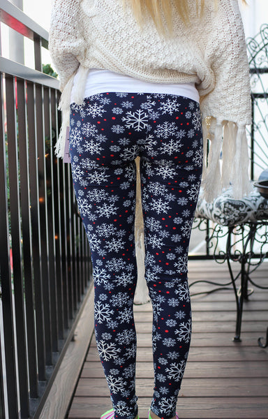Leggings- Soft Navy Snowflake Printed Leggings