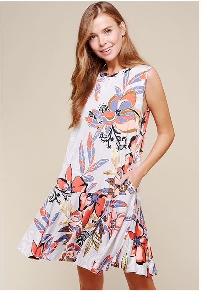 Women's Dress-Perfectly Playful Floral Tank Dress