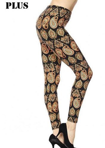 Plus Size Autumn Paisley Leggings