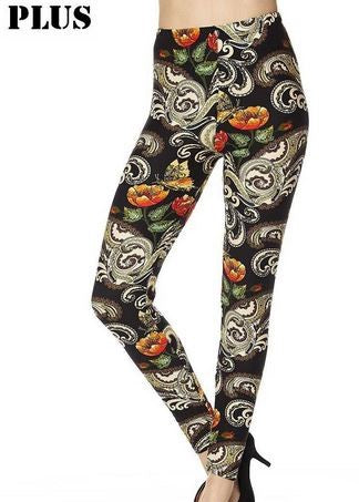 Floral and Paisley Leggings-Plus
