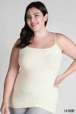 Women's Clothing Plus Size Ivory Seamles Long Cami