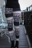 Women's Leggings- Purple and Black Snowflake Print Leggings